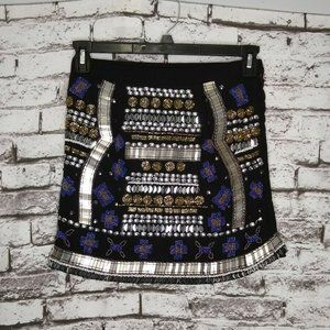 Raga Embellished Beaded Mini Skirt Black Chrome